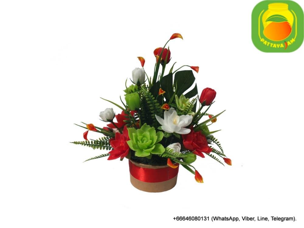 Букет из мыла ручной работы - водяная лилия, тюльпан. Таиланд. Композиция № 13.