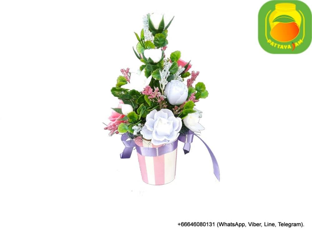 Букет из мыла ручной работы - анемон, нарцисс, роза. Паттайя. Композиция № 15.