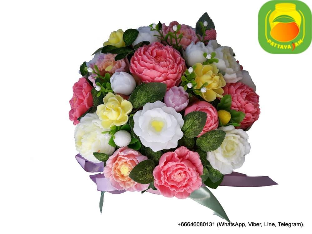 Букет из мыла ручной работы - пионовидные розы, в бело, желто, розовых тонах. Композиция № 21.