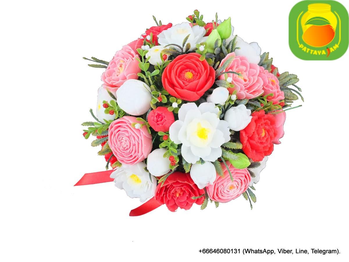 Букет из мыла ручной работы - ранункулюс, анемон, роза. Таиланд. Композиция № 8.