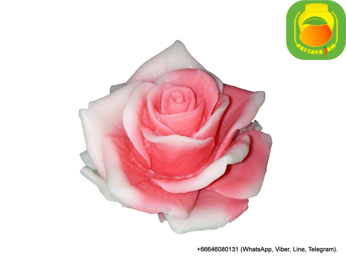 Мыло ручной работы двухцветная роза, в куполе. Подарок в Таиланде.