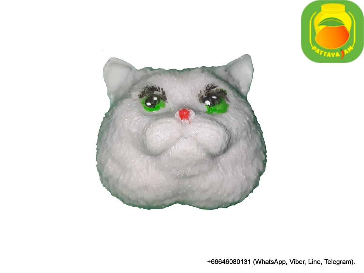 Мыло ручной работы голова кота, упаковка подарочный купол, в Таиланде.